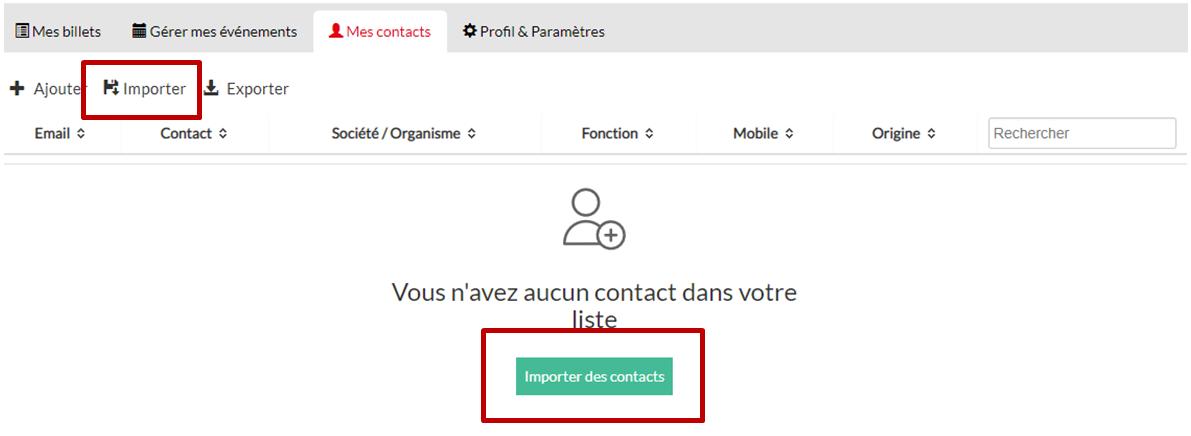 importer des contacts pour mails